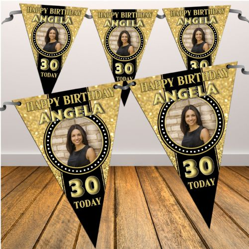 Personalised Black & Gold Happy 18th 21st 30th 40th Birthday Flag PHOTO Bunting Banner - N47 ANY AGE